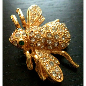 vintage rhinestone gold bee bug insect brooch pin